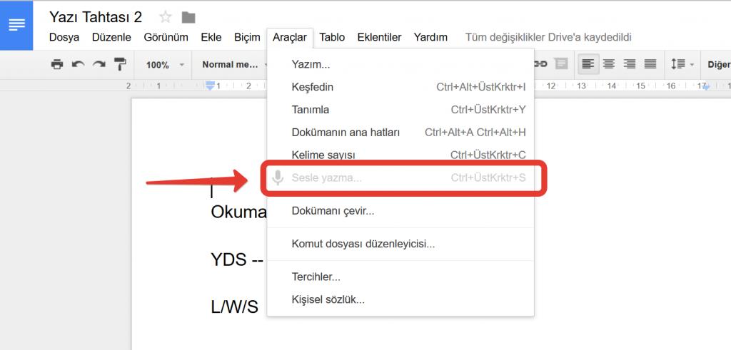 ses kaydını yazıya dönüştürme ingilizce türkçe